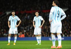Argentina's Javier Pastore (left), Argentina's Angel Di Maria (centre) and Argentina's Gonzalo Higuain (right)  - Photo mandatory by-line: Joe Meredith/JMP - Mobile: 07966 386802 - 18/11/14 - SPORT - Football - Manchester - Old Trafford - Argentina v Portugal - International Friendly