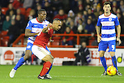Nottingham Forest forward Chris O'Grady uses his strength during the Sky Bet Championship match between Nottingham Forest and Queens Park Rangers at the City Ground, Nottingham, England on 26 January 2016. Photo by Aaron Lupton.