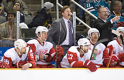 April 29, 2010; San Jose, CA, USA; Detroit Red Wings head coach Mike Babcock (top, left) instructs his team during the second period in game one of the western conference semifinals of the 2010 Stanley Cup Playoffs against the San Jose Sharks at HP Pavilion.  San Jose defeated Detroit 4-3. Mandatory Credit: Jason O. Watson / US PRESSWIRE