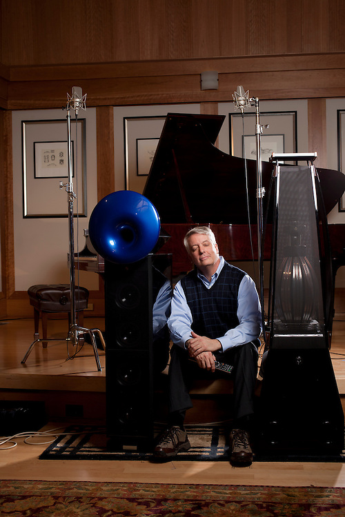 "John Q. Walker, founder of Zenph Sound Innovations, listens to a modified 1909 Steinway grand piano play a version of the Star Spangled Banner as Rachmaninoff would have played based upon quantitative detail rendered from years of research by Zenph engineers outside Raleigh, North Carolina, December 6, 2010. ""Reperformance,"" is what Walker calls the process. ""We had to invent the word--so we did.""."
