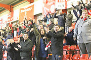 Crewe fans celebrate the second goal during the EFL Sky Bet League 2 match between Crewe Alexandra and Lincoln City at Alexandra Stadium, Crewe, England on 26 December 2018.