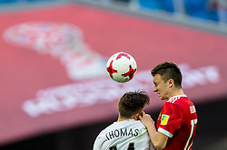 ST. PETERSBURG, June 18, 2017  Aleksandr Golovin (R) of Russia vies with Ryan Thomas of New Zealand during the group A match between Russia and New Zealand of the 2017 FIFA Confederations Cup in St. Petersburg, Russia, on June 17, 2017. Russia won 2-0. (Credit Image: © Bai Xuefei/Xinhua via ZUMA Wire)