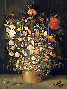 Bouquet of Flowers in a Wooden Vase' Still Life.  Jan Breughel the Younger (1601-1678) Flemish artist. Oil on panel.