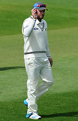 New Zealand's Mark Craig raises the ball after taking 5 wickets. Photo mandatory by-line: Harry Trump/JMP - Mobile: 07966 386802 - 11/05/15 - SPORT - CRICKET - Somerset v New Zealand - Day 4 - The County Ground, Taunton, England.