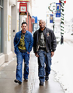 WATERBURY, CONNECTICUT- January 8, 2011: Producer David Gere, left, and Hip-Hop icon Darryl McDaniels a.k.a. D.M.C. formerly of the legendary rap group Run-DMC photographed on location during the filming of the motion picture Hard Luck.    (Photo by Robert Falcetti). .