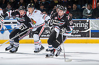 KELOWNA, CANADA - DECEMBER 5: Cole Linaker #26 of Kelowna Rockets skates against the Portland Winterhawks on December 5, 2015 at Prospera Place in Kelowna, British Columbia, Canada.  (Photo by Marissa Baecker/Shoot the Breeze)  *** Local Caption *** Cole Linaker;