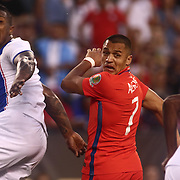 Chile Attacker ALEXIS SÁNCHEZ (7) heads the ball towards the net in the second half of a Copa America Centenario Group D match between the Chile and Panama Tuesday, June. 14, 2016 at Lincoln Financial Field in Philadelphia, PA.