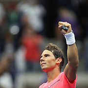 2017 U.S. Open Tennis Tournament - DAY TWO. Rafael Nadal of Spain celebrates his victory against Dusan Lajovic of Serbia during the Men's Singles round one match at the US Open Tennis Tournament at the USTA Billie Jean King National Tennis Center on August 29, 2017 in Flushing, Queens, New York City.  (Photo by Tim Clayton/Corbis via Getty Images)