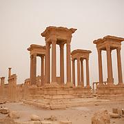 Tetrapylon ruins at Palmyra, just after a desert sandstorm