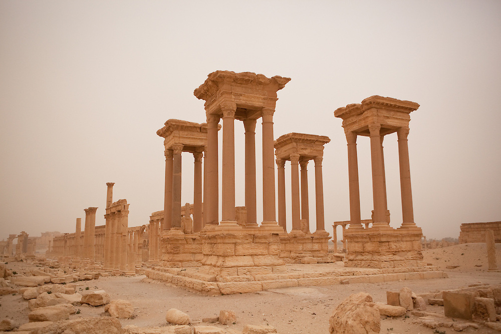 Tetrapylon ruins at Palmyra, just after a desert sandstorm