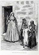 Historic illustration of people in Tiberias