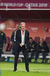 DOHA, QATAR - Tuesday, December 17, 2019: CR Flamengo's head coach Jorge Jesus reacts at the final whistle during the FIFA Club World Cup Qatar 2019 Semi-Final match between CR Flamengo and Al Hilal FC at the Khalifa Stadium. CR Flamengo won 3-1. (Pic by David Rawcliffe/Propaganda)