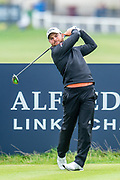 Jordan Smith plays his tee shot at the 2nd hole during the final round of the Alfred Dunhill Links Championship European Tour at St Andrews, West Sands, Scotland on 29 September 2019.