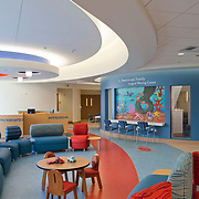The new Rady Children's Hospital in San Diego California was designed by Anshen & Allen Architects (now Stantec) and Aesthetics, Inc., and completed in September of 2010. Interior design details include original art created by San Diego area teenagers, original mosaics created by Kim Emerson and landscape design by Royston Hanamoto & Abey, San Diego Architectural Photographer, Southern California Architectural Photographer