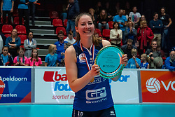 Carlijn Ghijssen-Jans #10 of Sliedrecht Sport celebrate after the cup final between Sliedrecht Sport and Laudame Financials VCN on February 16, 2020 in De Maaspoort in Den Bosch.