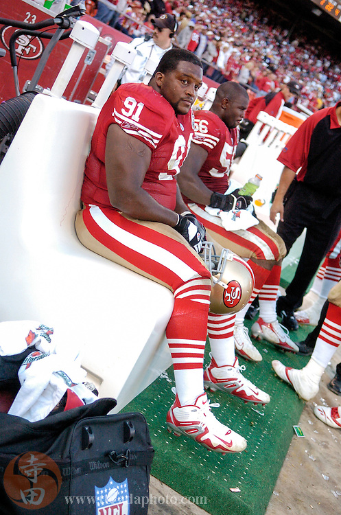 Nov 5, 2006 San Francisco, CA, USA: San Francisco 49ers defensive tackle Anthony Adams (91) during the second half against the Minnesota Vikings at Monster Park. The 49ers defeated the Vikings 9-3.