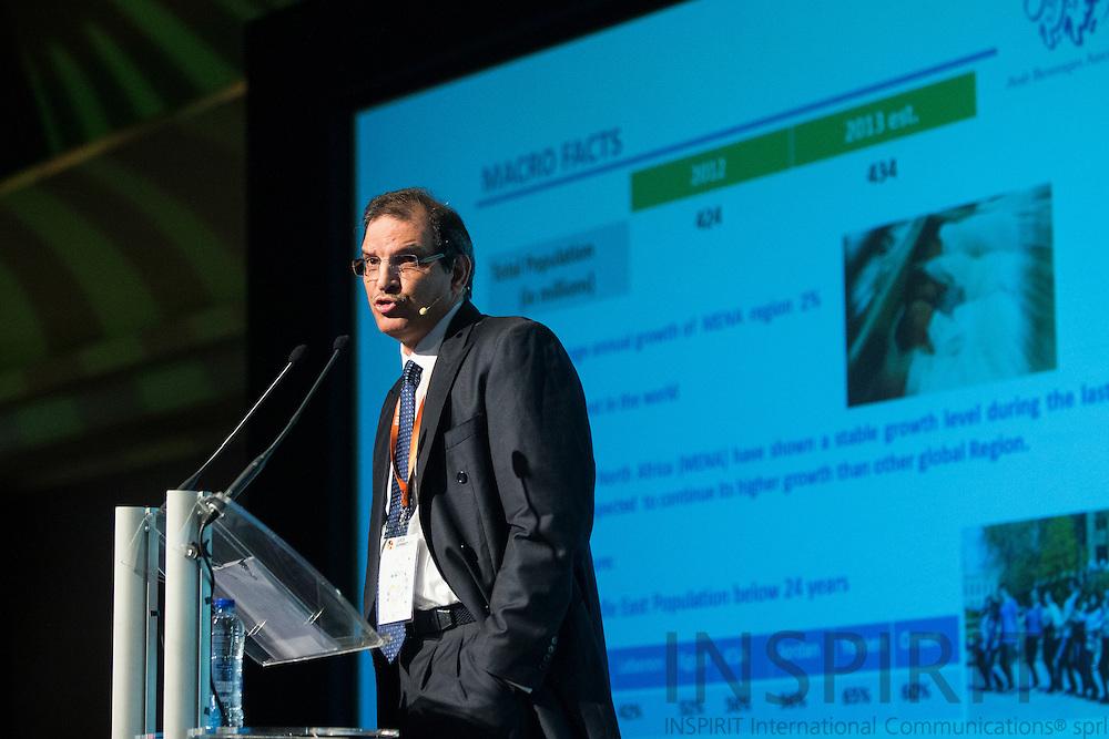 Monther Alharthi, CEO Al-Rabie Saudi Foods Co and President Arab Beverages Association, Saudi Arabia, at the Juice Summit in Antwerp 15 - 16 October 2014. Photo: Erik Luntang