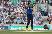 England Steven Finn goes close during the Royal London One Day International match between England and New Zealand at the Oval, London, United Kingdom on 12 June 2015. Photo by Phil Duncan.