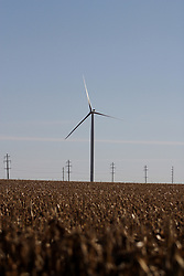 29 October 2006:  As the crops are harvest between Ellsworth and Saybrook, a wind farm begins to rise.  Agriculture and energy are becoming synonymous in Central Illinois.  Corn and soybeans are being used for fuel supplements and lad is being leased for the wind farms to harvest natural energy. Rural McLean County, Illinois.<br />