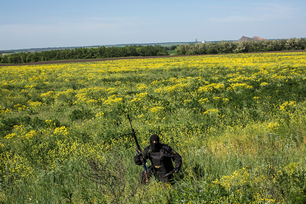 A member of the Donbass Battalion, a pro-Ukraine militia, picks up his weapon after taking cover in a field near a Ukrainian military checkpoint on May 21, 2014 in Dobropillya, Ukraine. Days before presidential elections are scheduled, questions remain whether the eastern regions of Donetsk and Luhansk are stable enough to administer the vote.