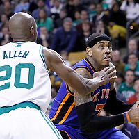 04 March 2012: New York Knicks small forward Carmelo Anthony (7) drives past Boston Celtics shooting guard Ray Allen (20) during the Boston Celtics 115-111 (OT) victory over the New York Knicks at the TD Garden, Boston, Massachusetts, USA.