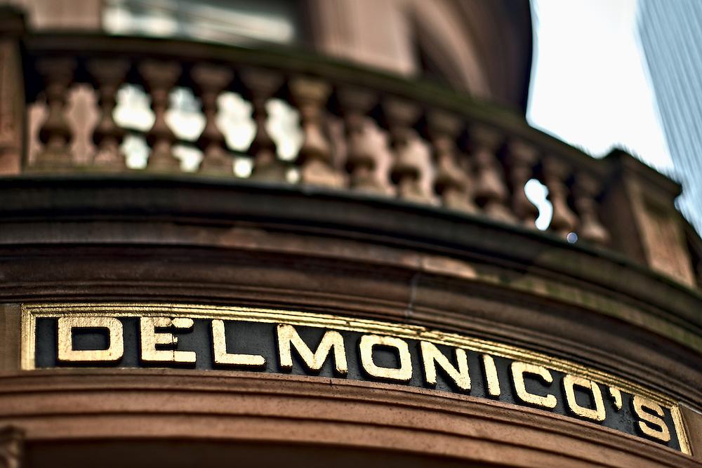 Entrance to Delmonico's restaurant, lower Manhattan, New York, NY, US