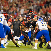 20 October 2018: San Diego State Aztecs running back Chance Bell (21) rushes the ball for a short gain in the second quarter. The Aztecs beat the Spartans 16-13 Saturday night at SDCCU Stadium.