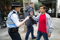"© Licensed to London News Pictures . 24/06/2017. London, UK. Police separate some EDL supporters from anti fascists , on Northumberland Avenue . The English Defence League ( EDL ) hold a March on Parliament , from Charing Cross to Victoria Embankment , opposed by  a counter demonstration by Unite Against Fascism . Scotland Yard said it was using public order laws to restrict the marches ""due to concerns of serious public disorder, and disruption to the community"" following terrorist attacks in Manchester , Westminster and Finsbury Park and the Grenfell Tower fire  . Photo credit: Joel Goodman/LNP"