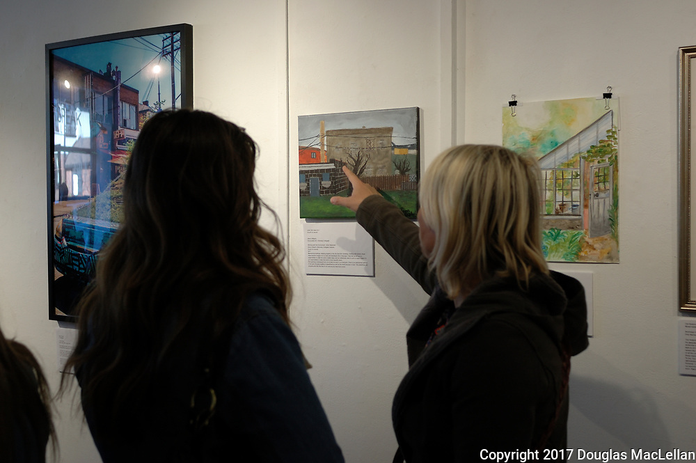 "CANADA, Windsor. May, 2017. ""Working with the Environment"" at Artspeak Gallery, high school student art exhibition, sponsored by UNIFOR 200. Part of MayWorks Windsor 2017 programming."
