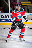 KELOWNA, CANADA - OCTOBER 11:  Dalton Yorke #5 of   the Kelowna Rockets skates on the ice during warm up against the Seattle Thunderbirds on October 11, 2013 at Prospera Place in Kelowna, British Columbia, Canada (Photo by Marissa Baecker/Shoot the Breeze) *** Local Caption ***