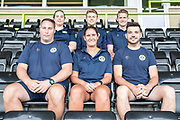 Hannah Dingley new Academy manager with the academy staff at Forest Green Rovers at the New Lawn, Forest Green, United Kingdom on 17 July 2019.