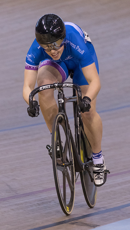 Robyn Stewart (Scotland) sets the early pace.  Revolution 55 Track Cycling Glasgow, 28th November 2015