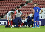 England's John Swift goes off injured during the Under 21 International Friendly match at the St Mary's Stadium, Southampton. Picture date November 10th, 2016 Pic David Klein/Sportimage