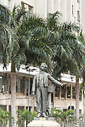 Statue of musician Antonio Carlos Gomes outside the Municipal Theatre on Cinelandia Square in Rio de Janeiro, Brazil.