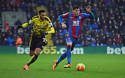 Joel Ward on the attack during the Barclays Premier League match between Crystal Palace and Watford at Selhurst Park, London, England on 13 February 2016. Photo by Michael Hulf.