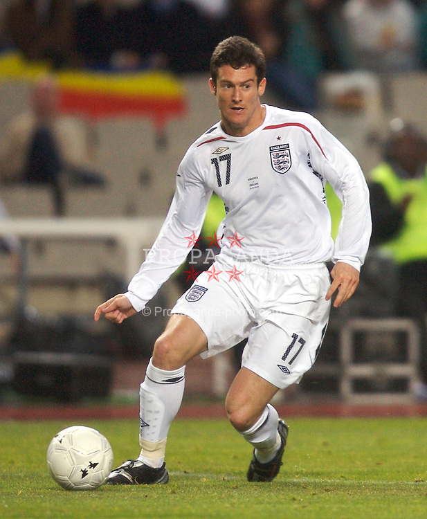 Barcelona, Spain - Wednesday, March 28, 2007: England's David Nugent against Andorra during the UEFA European Championship 2008 Qualifying match at the Olimpico de Montjuic Stadium. (Pic by David Rawcliffe/Propaganda)