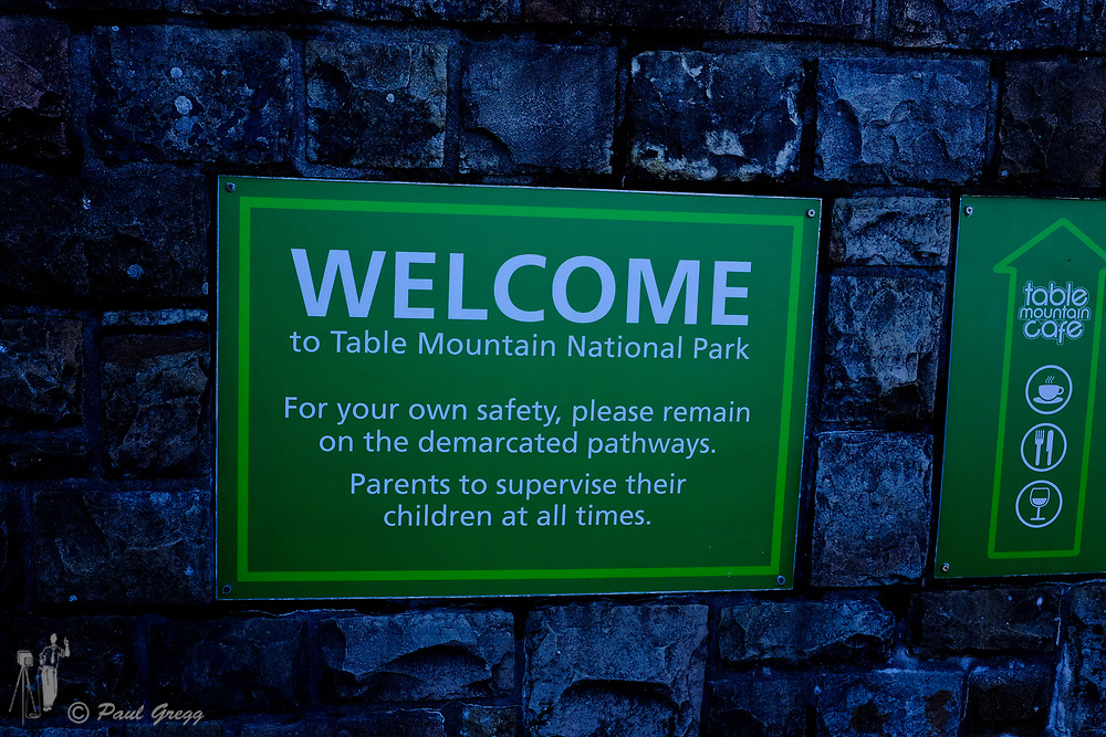 Table Mountain,Cape Town, South Africa. A visitor welcome and information sign on top of Table Mountain