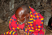 Portrait of a mature Maasai tribesman. Maasai is an ethnic group of semi-nomadic people. Photographed in Tanzania