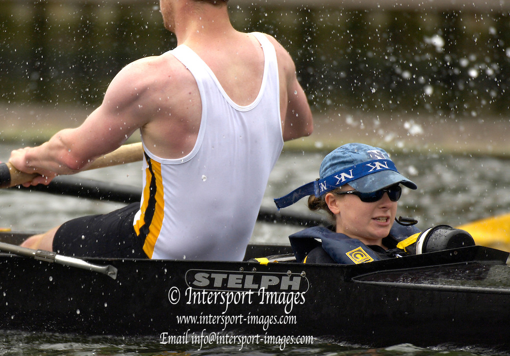 2005 Henley Royal Regatta, Henley on Thames, ENGLAND. Tuesday 29.06.2005. Clare College cox, Sarah Moore, steers her crew home for a first round victory in the 'Men's Student Coxed fours' event, on the opening day of the 2005 Henley Royal Regatta.  .Photo  Peter Spurrier. .email images@intersport-images..[Mandatory Credit Peter Spurrier/ Intersport Images] . HRR.