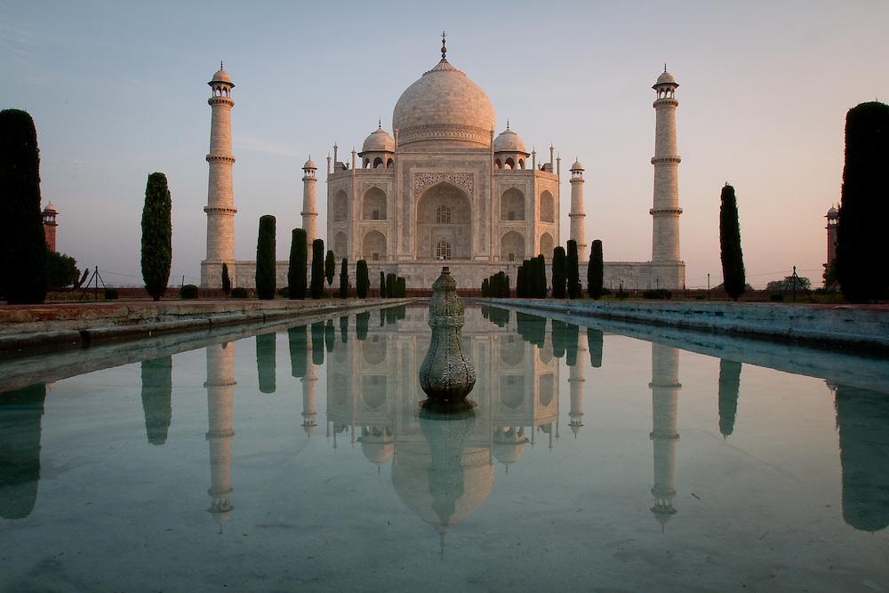The sun rises over Agra, India, home of the beautiful Taj Mahal.