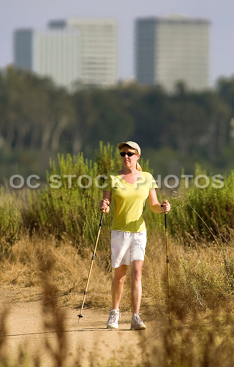 Woman Hiking On The Trails in The Back Bay Of Newport Beach