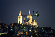France. Paris. elevated view on the Sacre Coeur. basilic church of the sacre coeur in montmartre, roofs view from the hotel Hyatt madelaine