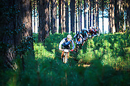 Sean McDonald leads a group of riders through the Tstitsikamma forest during day one of the Glacier Storms River Traverse mountain bike stage race held at the The Tsitsikamma Village Inn situated in Storms River Village on the Garden route, South Africa on the 6th August 2016<br /> <br /> Photo by:    / Dryland Event Management / SPORTZPICS<br /> <br /> <br /> {dem16gst}
