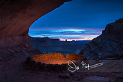 The ruins of False Kiva at sunset in Canyonlands National Park, Utah.