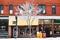 Shops on Aspen Street / Downtown Flagstaff in Winter, Arizona