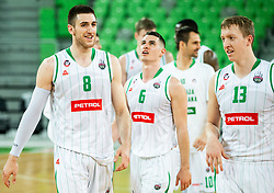 Aleksandar Lazic of Petrol Olimpija, Jan Span of Petrol Olimpija, Miha Lapornik of Petrol Olimpija after winning during basketball match between KK Petrol Olimpija and KK Rogaska in Round #5 of Liga Nova KBM za prvaka 2018/19, on March 31, 2019, in Arena Stozice, Ljubljana, Slovenia. Photo by Vid Ponikvar / Sportida