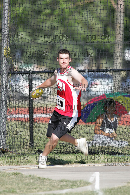 Corey Wingate competing in the juvenile boys discus at the 2007 OTFA Supermeet II. The Ontario Track and Field Association Bantam-Midget-Juvenile Championships were held in Toronto from August 3rd to 5th.