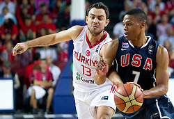 Ender Arslan of Turkey vs Russel Westbrook of USA during the finals basketball match between National teams of Turkey and USA at 2010 FIBA World Championships on September 12, 2010 at the Sinan Erdem Dome in Istanbul, Turkey.   (Photo By Vid Ponikvar / Sportida.com)