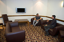 WIGAN, ENGLAND - Monday, August 24, 2009: Wigan Athletic's manager Roberto Martinez in the manager's room at the DW Stadium. (Photo by David Rawcliffe/Propaganda)