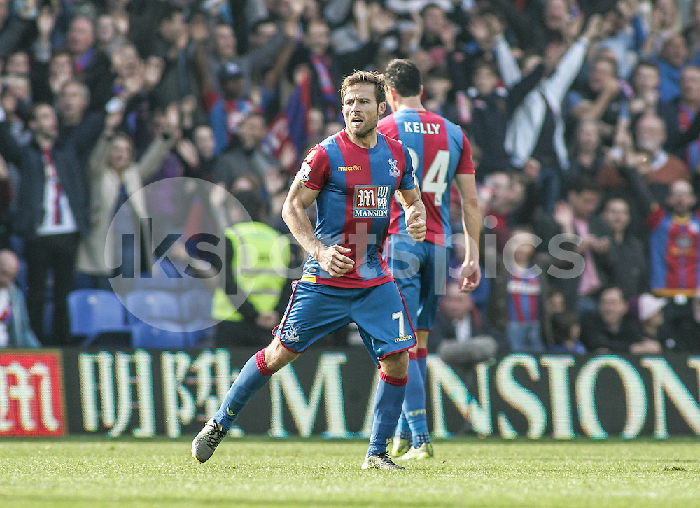 Yohan Cabaye of Crystal Palace scores from the penalty spot to make it 2-0 during the Barclays Premier League match between Crystal Palace and West Bromwich Albion at Selhurst Park, London, England on 3 October 2015. Photo by Ken Sparks.